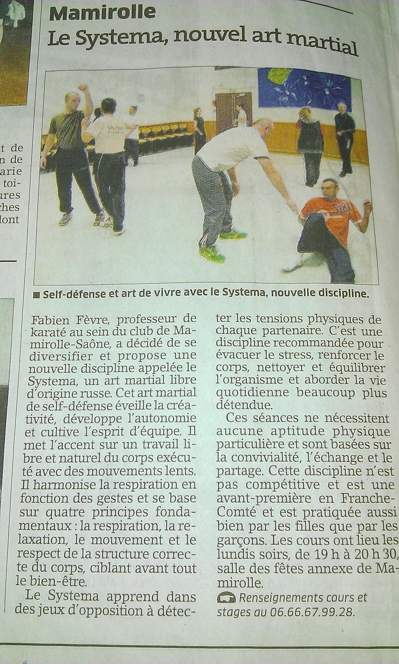 Article paru dans l'Est Republicain du 17 janvier 2013