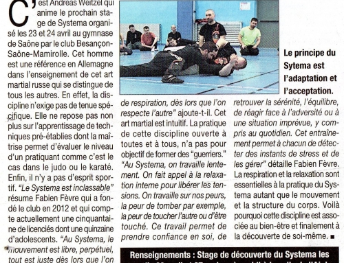 Article paru dans la « Presse Bisontine » le 22 avril 2016